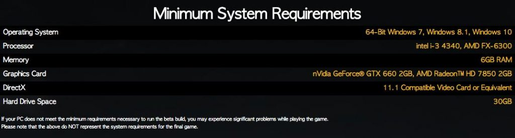 PlayerUnknown's Battlegrounds system requirments